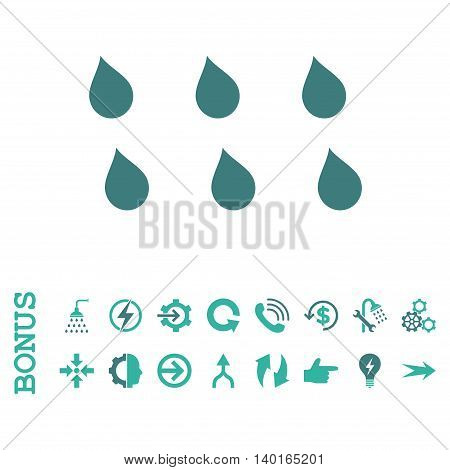 Drops vector bicolor icon. Image style is a flat pictogram symbol, cobalt and cyan colors, white background.