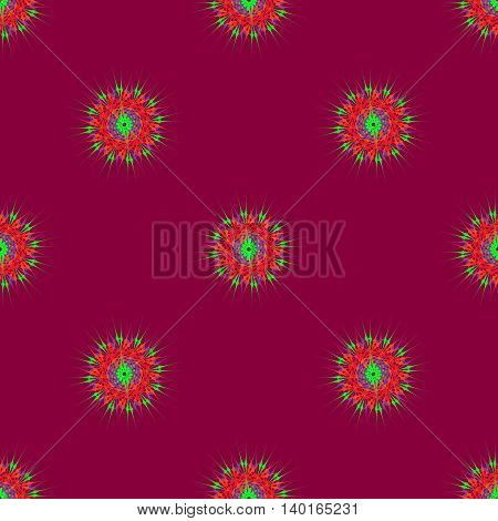 Abstract seamless pattern with bright multibeam fractal mandala on a deep magenta background