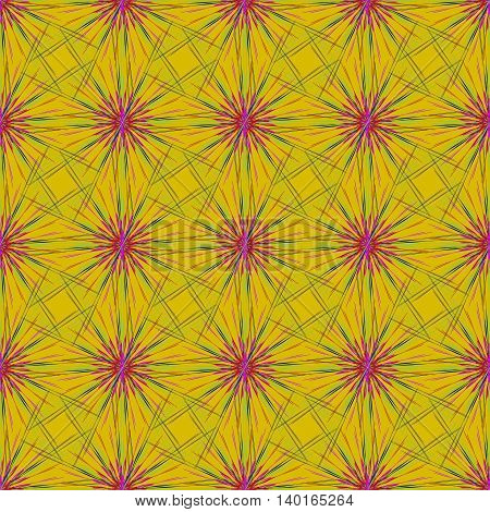 Abstract seamless pattern with multibeam furry fractal star on a dark yellow background.