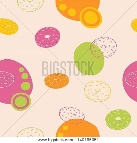 Donut seamless pattern graphic art pink green orange yellow illustration vector