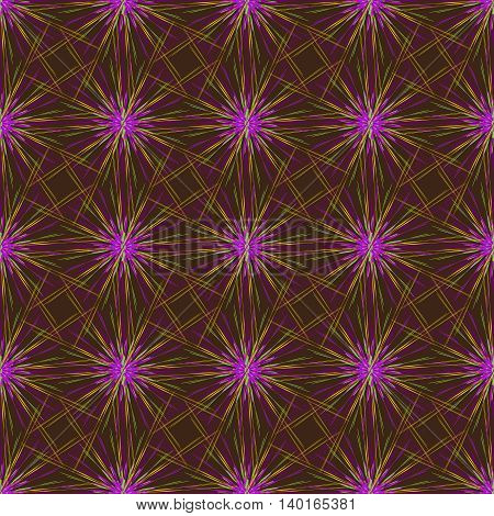 Abstract seamless pattern with multibeam furry fractal star on a dark brown background.
