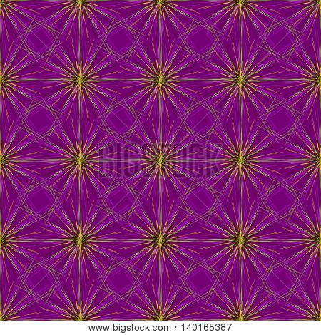 Abstract seamless pattern with multibeam furry fractal star on a dark violet background.