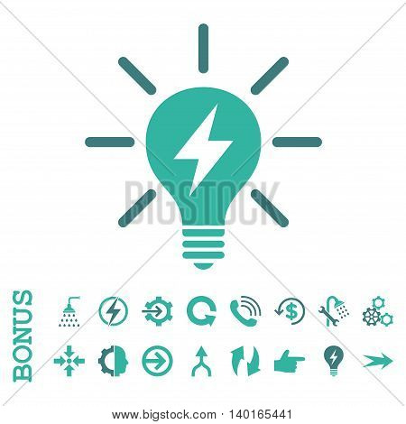 Electric Light Bulb vector bicolor icon. Image style is a flat pictogram symbol, cobalt and cyan colors, white background.