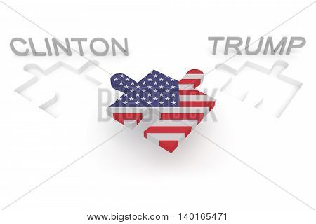 BERLIN GERMANY - JULY 27 2016: US election: Stars and Stripes puzzle piece Clinton Trump 3d illustration