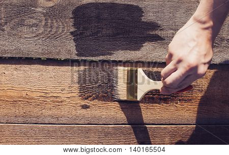 Paint Brush On Wooden Table Use For Home Decorated. House Renovation.