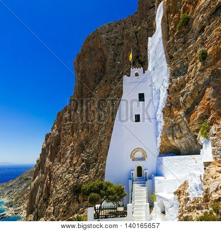 Unique monastery Panagia Hozovitissa on the cliff, Amorgos island