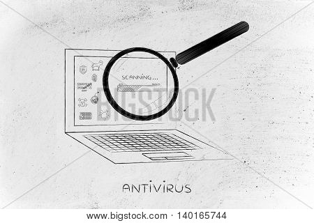 laptop being analyzed by magnifying glass for viruses or other threats with progress bar concept of antivirus system scan
