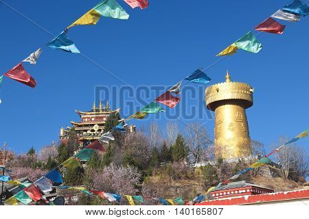 Temple and Golden bell with blue sky in background, Shangri la