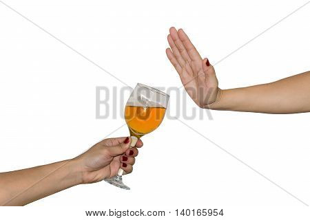 Woman's hand extended glass drink alcohol on the other hand rejected on white background. concept for don't drink and drive.