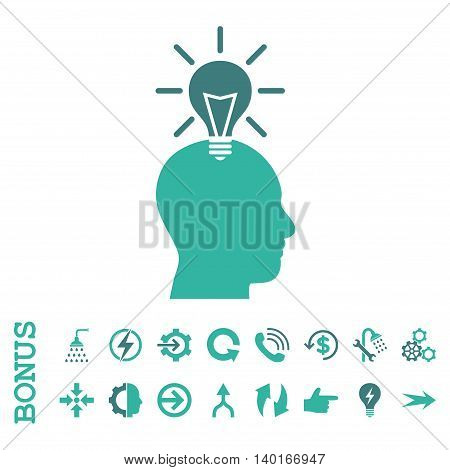 Genius Bulb vector bicolor icon. Image style is a flat iconic symbol, cobalt and cyan colors, white background.