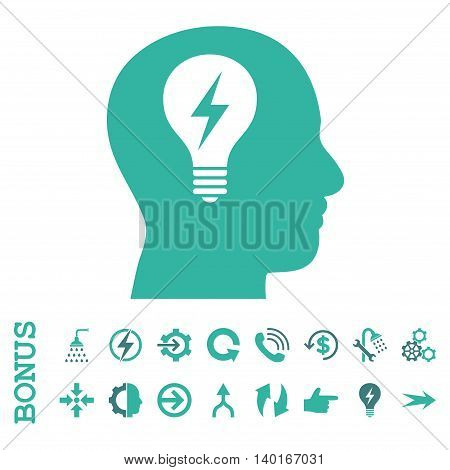Head Bulb vector bicolor icon. Image style is a flat pictogram symbol, cobalt and cyan colors, white background.