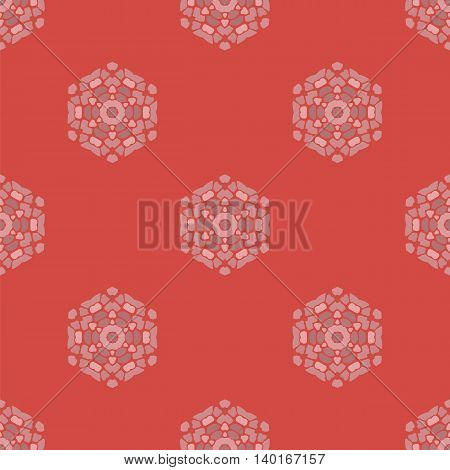 Creative Ornamental Seamless Red Pattern. Geometric Decorative Background