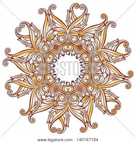 Ornate floral pattern in pastel rose pink and yellow shades on white background