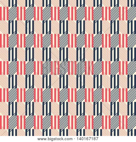 Abstract seamless geometric pattern of triple sticks and diagonal lines. Graphic print in retro color palette. Vector illustration for fabric, paper and other