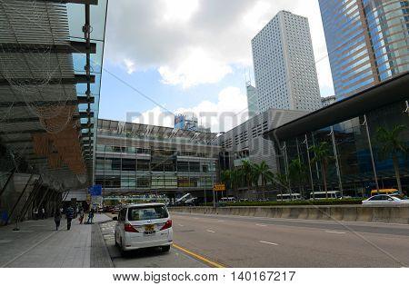HONG KONG - NOV 9: Hong Kong Finance Street is located at the Center of Financial District on Nov 9, 2015 in Hong Kong Island, Hong Kong.