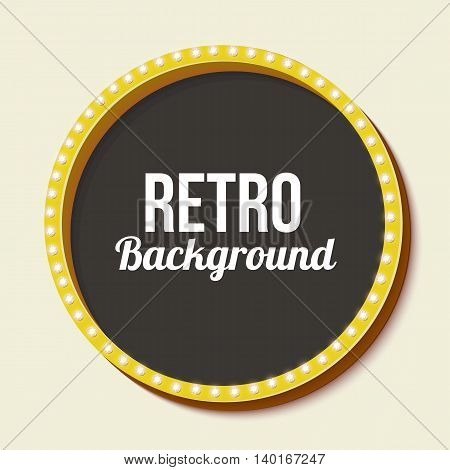 Round retro frame with lights. Yellow surround circle with lamps and a black background for your text message stock. Figure on a light background. illustration