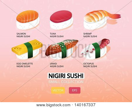 Sushi menu cover background in flat style.