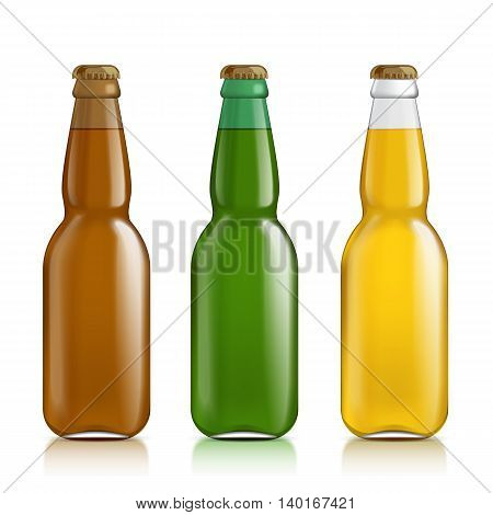 Multicolored glass bottles realistic. Set of colored transparent empty bottles with a liquid. Mock Up Template Ready For Your Design. Isolated On White Background. Vector illustration