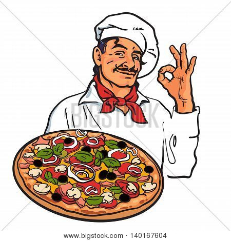 Smiling Italian chef holding pizza in his hand, sketch style illustration isolated on white background. Sketch of charming Italian chef serving pizza