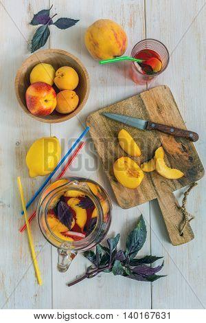 Refreshing Lemonade Fruit And Purple Basil.