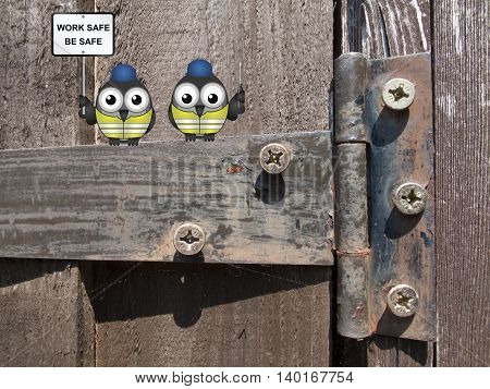 Comical bird construction workers perched on an old rusty hinge with health and safety message work safe be safe sign