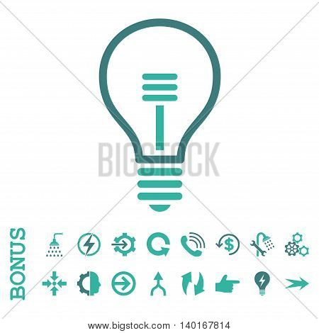 Lamp Bulb vector bicolor icon. Image style is a flat iconic symbol, cobalt and cyan colors, white background.