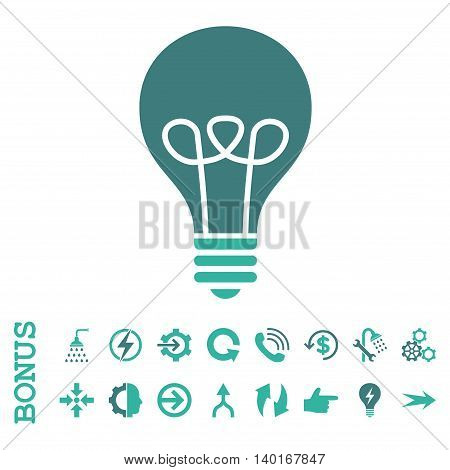 Lamp Bulb vector bicolor icon. Image style is a flat pictogram symbol, cobalt and cyan colors, white background.