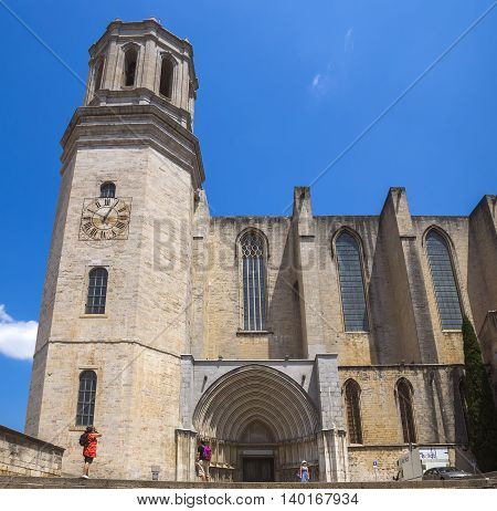 GIRONA SPAIN - JULY 6 2016: Saint Mary Cathedral in Girona Catalonia Spain