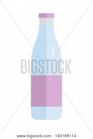 Glass or plastic bottle with milk or yogurt illustration. Isolated on white background.