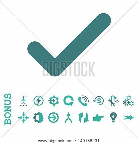 Ok vector bicolor icon. Image style is a flat iconic symbol, cobalt and cyan colors, white background.