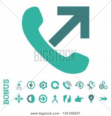 Outgoing Call vector bicolor icon. Image style is a flat iconic symbol, cobalt and cyan colors, white background.
