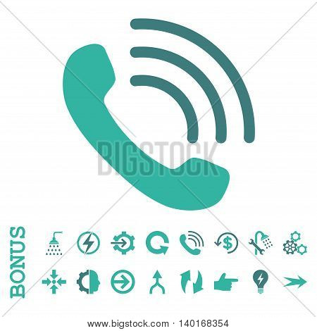 Phone Call vector bicolor icon. Image style is a flat iconic symbol, cobalt and cyan colors, white background.