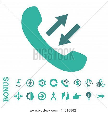 Phone Talking vector bicolor icon. Image style is a flat pictogram symbol, cobalt and cyan colors, white background.