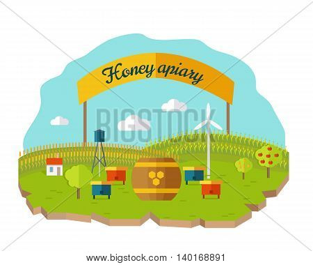 Honey apiary conceptual vector. In flat style design. Beehives and barrel of honey on farmyard with fields and garden on background. Traditional organic apiary illustration. Isolated on white.