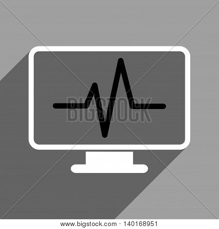 Cardiogram Monitoring long shadow vector icon. Style is a flat cardiogram monitoring black and white iconic symbol on a gray square background.