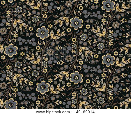 Seamless floral pattern with ornamental flowers in Khokhloma style. Floral design. Traditional russian Hohloma ornament with flowers. Vintage retro variant in black colors. Vector illustration