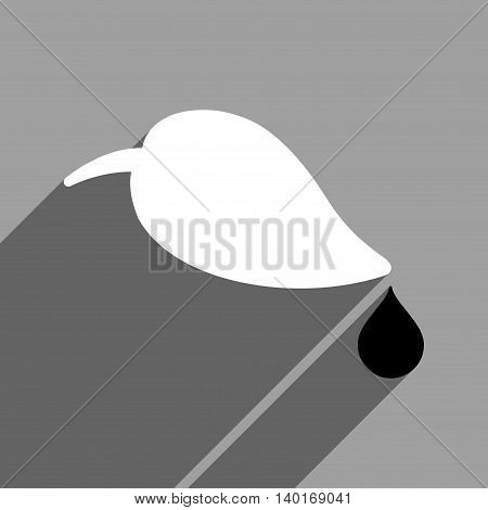 Ecology long shadow vector icon. Style is a flat ecology black and white iconic symbol on a gray square background.