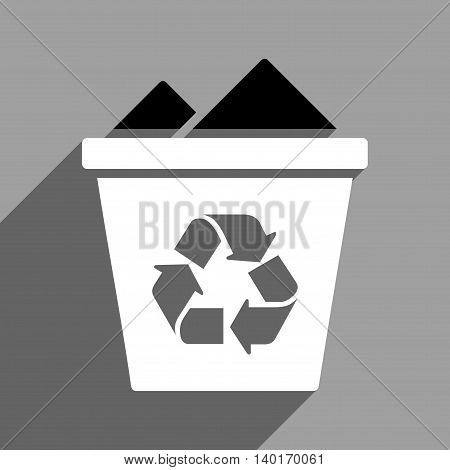 Full Recycle Bin long shadow vector icon. Style is a flat full recycle bin black and white iconic symbol on a gray square background.