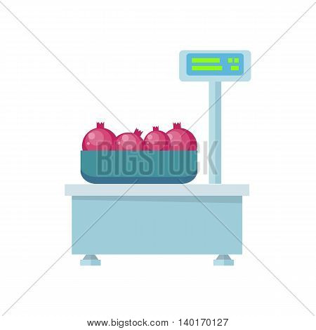 Tray with pomegranates on store scales vector. Flat design. Fruits in supermarket illustration for stores, farms, signboards and ad. Weighing equipment for trade. Isolated on white background.