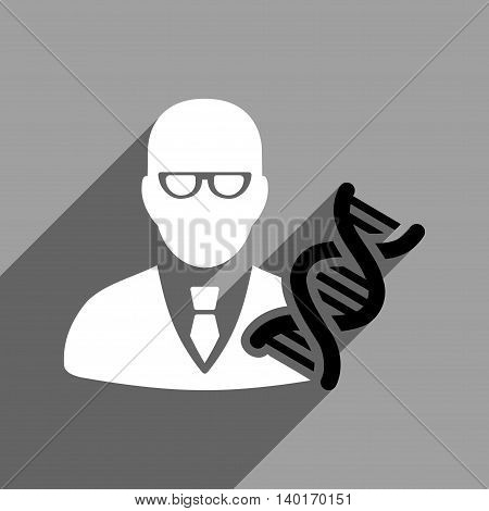 Genetic Engineer long shadow vector icon. Style is a flat genetic engineer black and white iconic symbol on a gray square background.