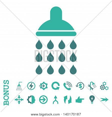 Shower vector bicolor icon. Image style is a flat iconic symbol, cobalt and cyan colors, white background.