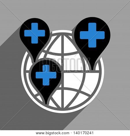 Global Clinic Company long shadow vector icon. Style is a flat global clinic company black and white iconic symbol on a gray square background.
