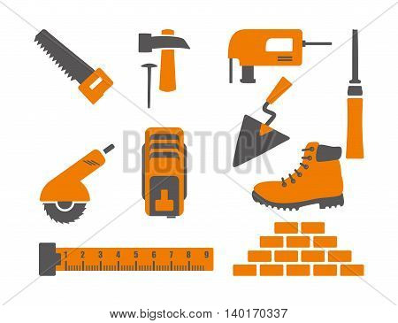 Icons with construction tools. vector drawing. gray, orange
