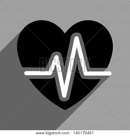 Heart Diagram long shadow vector icon. Style is a flat heart diagram0 black and white iconic symbol on a gray square background.