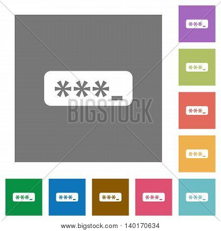 Typing password flat icon set on color square background.