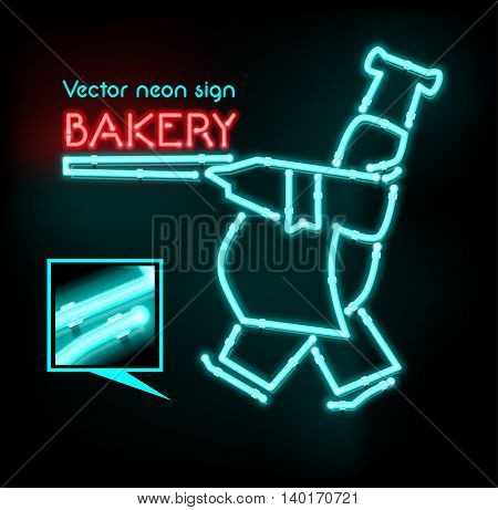 Vector neon sign bakery, bright signboard, light banner.