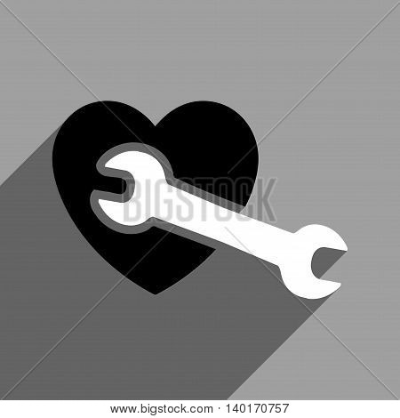 Heart Surgery long shadow vector icon. Style is a flat Heart surgery0 black and white iconic symbol on a gray square background.