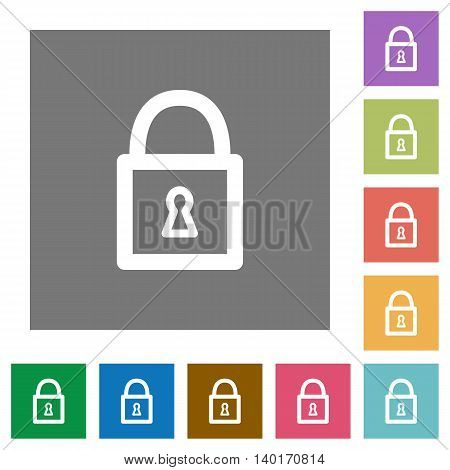 Locked padlock flat icon set on color square background.