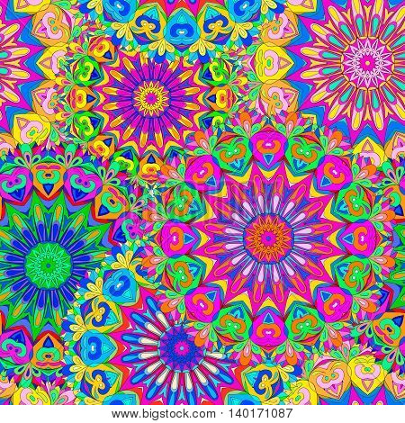 Colorful seamless pattern mandala can be used for wallpaper pattern fills web page background surface textures. Arabic Indiam Islam.