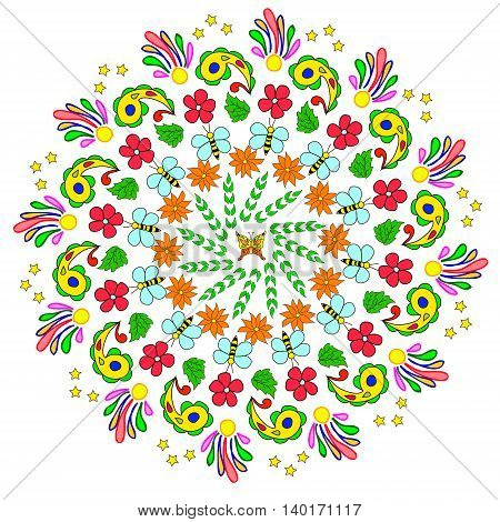 Abstract mandala with flower bee curls and leaves on white background. Can be used as a background decor decoupage textile invitation wallpaper pattern fills web page backgroundsurface textures